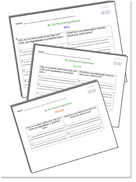 Figure 1. An example of lab worksheets that students complete and save in their scientist notebooks