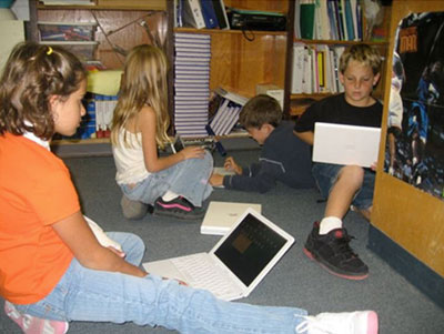 Children working on computers