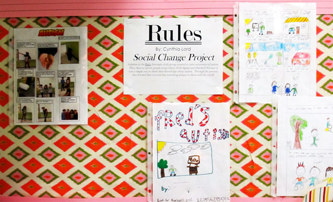Figure 3. Classroom Bulletin Board With Lee's Social Change Project About Autism