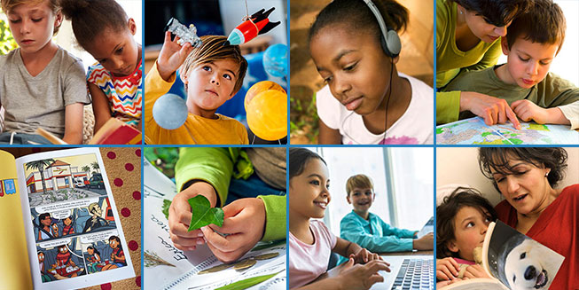 collage of images showing young children engaged in summer reading and learning activities