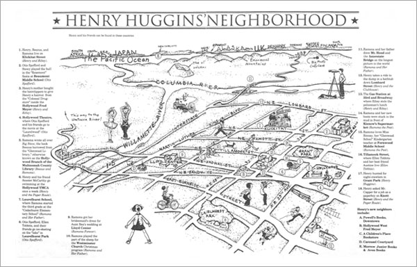 Map of Henry Huggins' Neighborhood