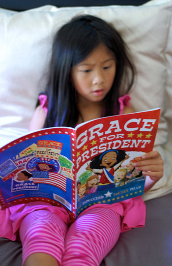 Addie reading Grace for President