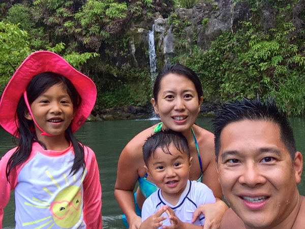 The Shen family explores nature in Maui