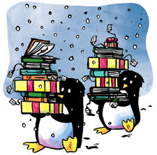 Penguins carrying gift-wrapped books for children
