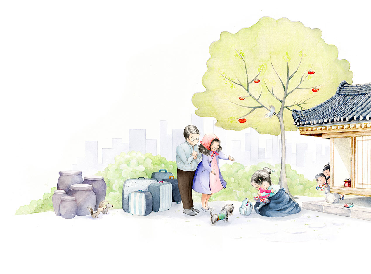 illustration of Danbi and her family leaving Korea from picture book Danbi Leads the School Parade