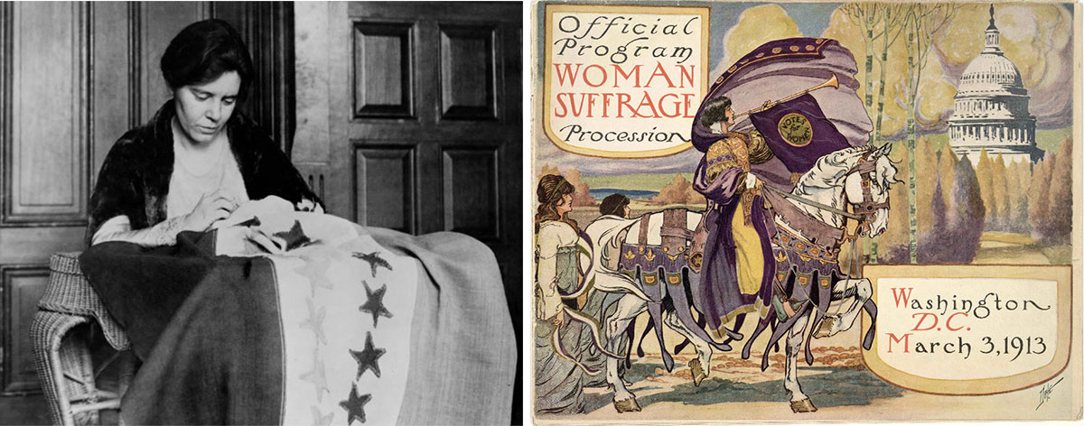 Suffragist Alice Paul sewing flag and cover of suffragist parade program