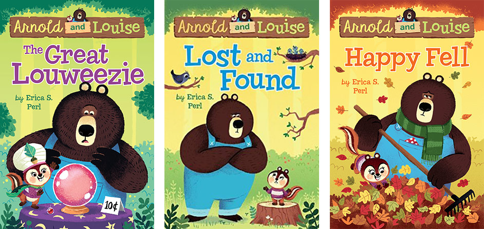 Illustrated covers of three Arnold and Louise easy chapter books