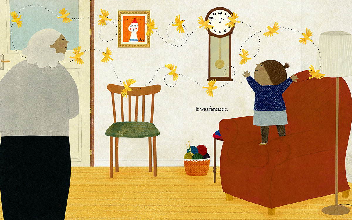 Illustration of little girl and grandmother with dozens of birds flying through living room