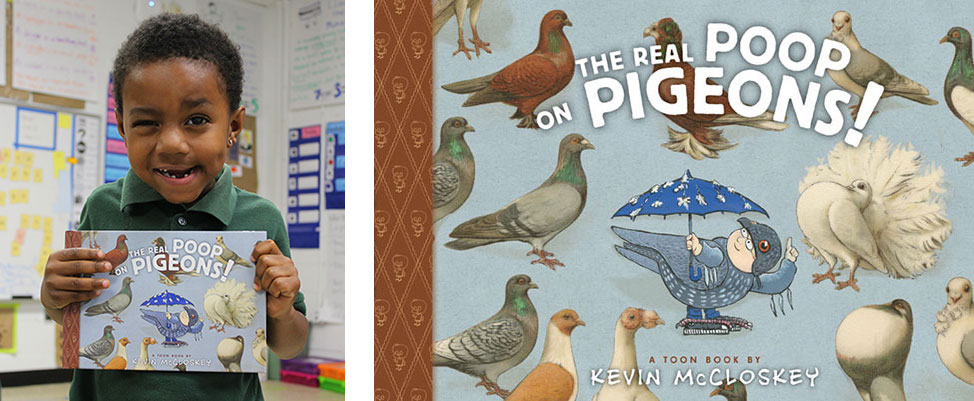 Young child holding The Real Poop on Pigeons picture book