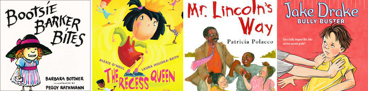 Covers of four children's books about social conflict resolution among peers