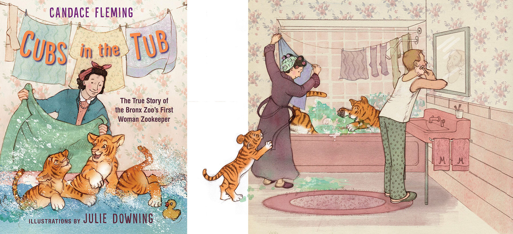 Watercolor cover and page spread of children's book Cubs in the Tub