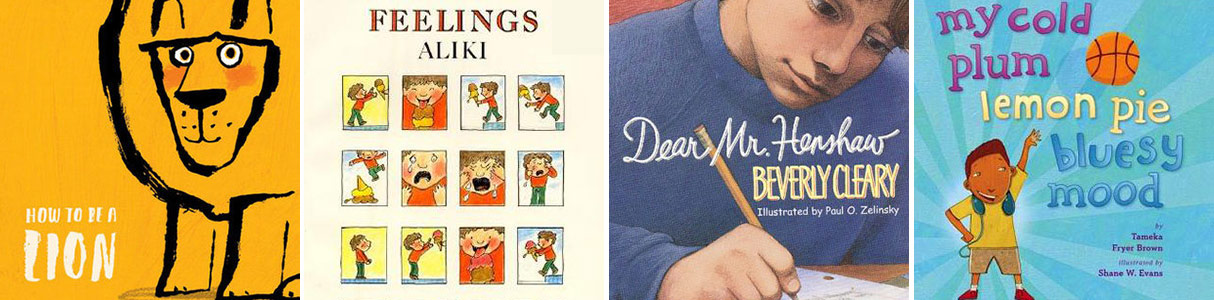 Covers of four picture books that help children understand emotions