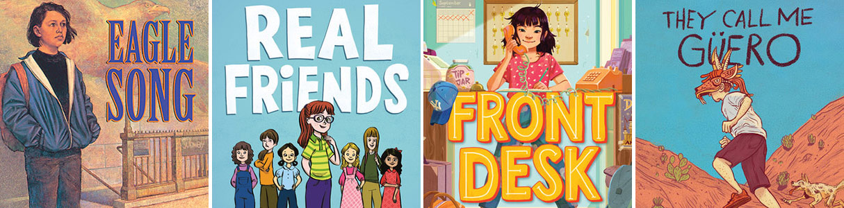 Covers of four middle school books with empathy and anti-bullying themes