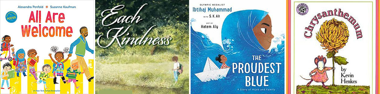 Covers of four children's picture books that build empathy