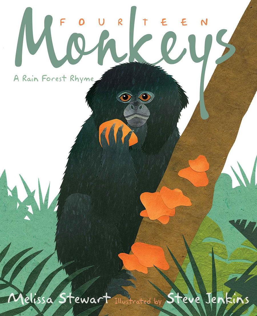 Black monkey climbing a tree on cover of 14 Monkeys picture book