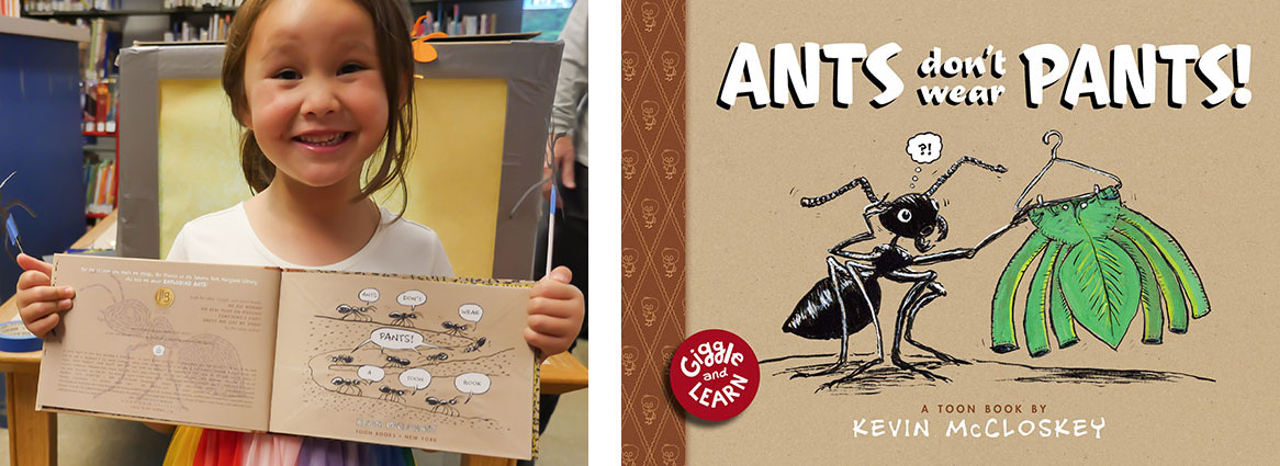 Young girl holding Ants Don't Wear Pants picture book
