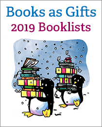 Children's books gift guide with penguins carrying books as giftss