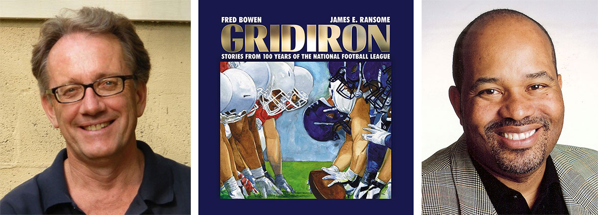 Children's sports writer Fred Bowen, children's book illustrator James Ransome and cover of their book Gridiron: Stories from 100 Years of the National Football League