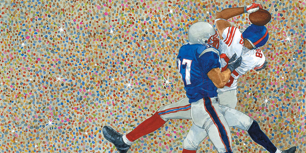 Watercolor of two football players colliding from children's book Gridiron: Stories from 100 Years of the National Football League