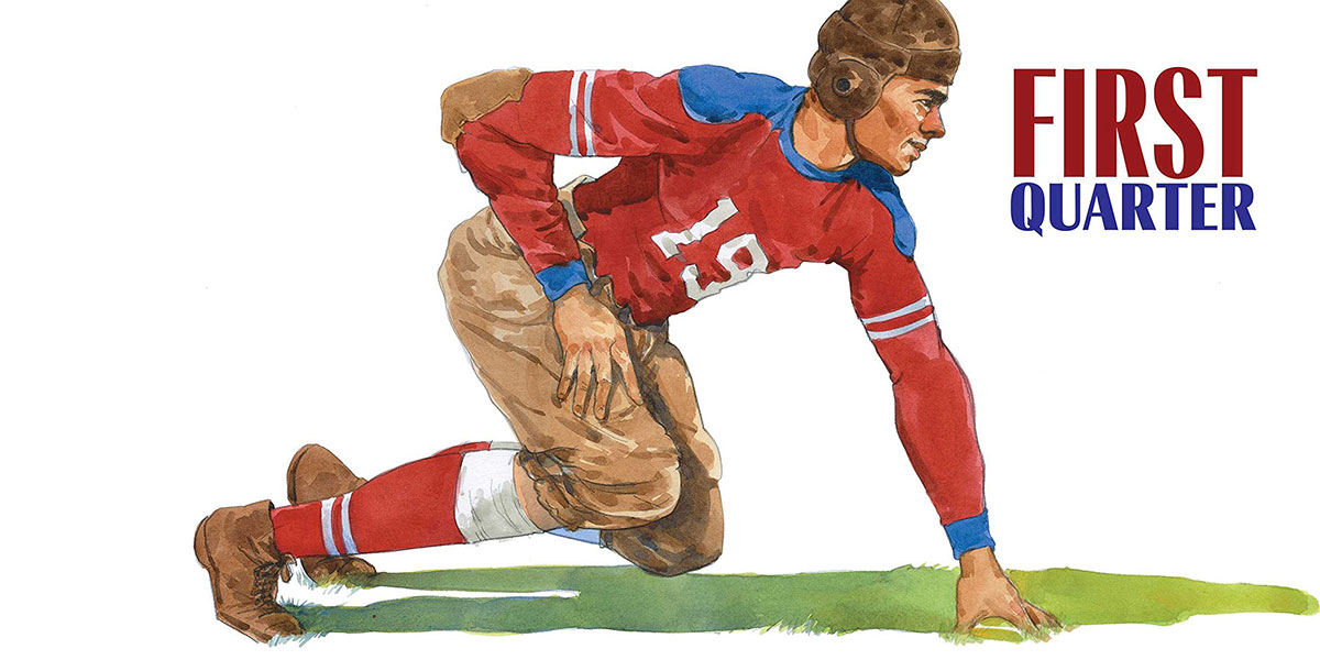 Watercolor illustration of early NFL player from children's book Gridiron: Stories from 100 Years of the National Football League