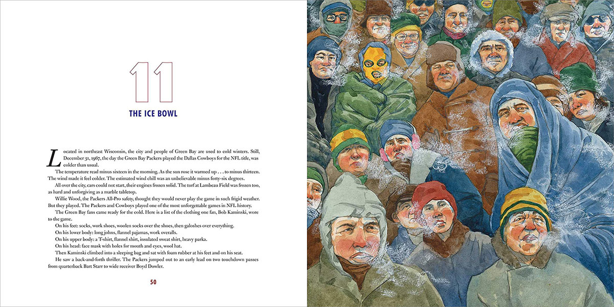 1967 Ice Bowl crowd watercolor illustration from Gridiron: Stories from 100 Years of the National Football League