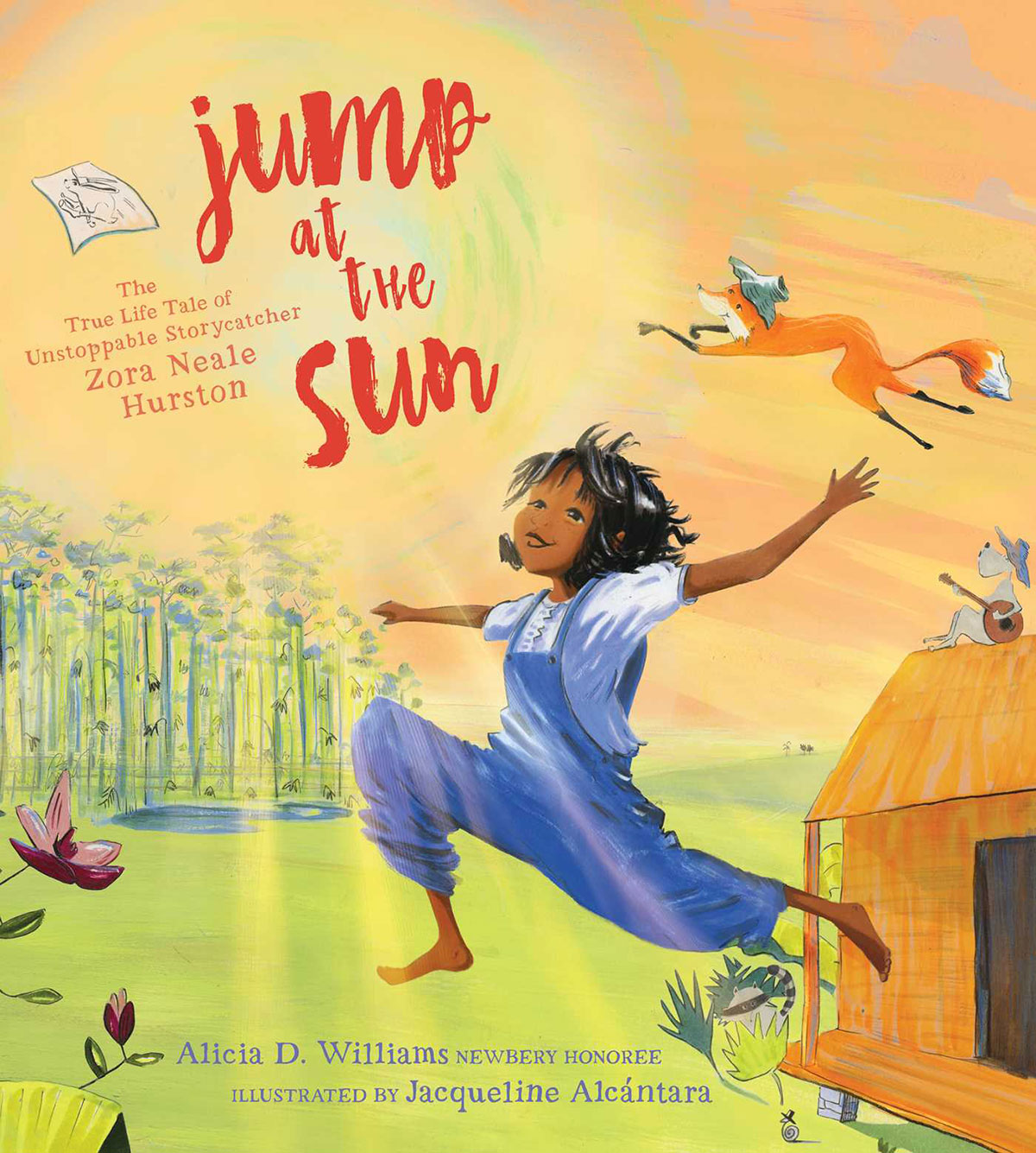 Jump at the Sun book cover Zora Neale Hurston as a young girl jumping outside