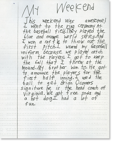 Second Grade: Writing Sample 5 | Reading Rockets