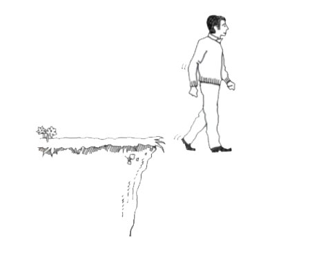 line drawing of man walking off a cliff