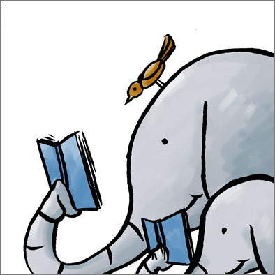 Illustration of an elephant reading a children's book