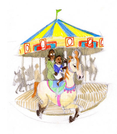 First crayon sketch for A Ride to Remember carousel