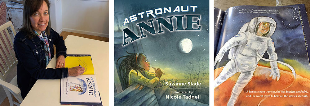 Children's author Suzanne Slade signing her book Astronaut Annie