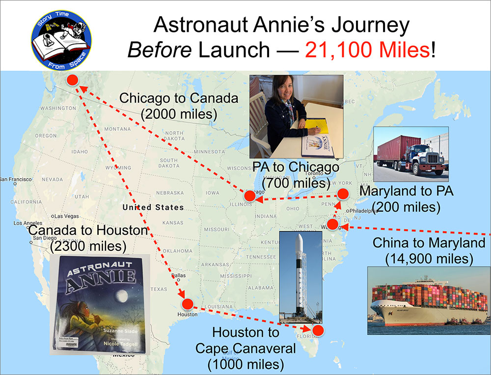 Map of the journey of the Astronaut Annie book from printing in China to delivery at the International Space Station