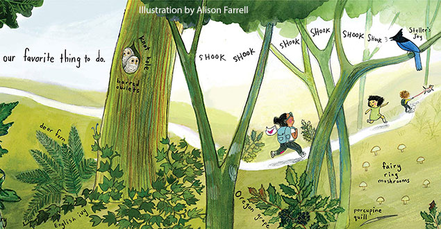 Colorful illustration of children outside on a walk in the woods from the book The Hike