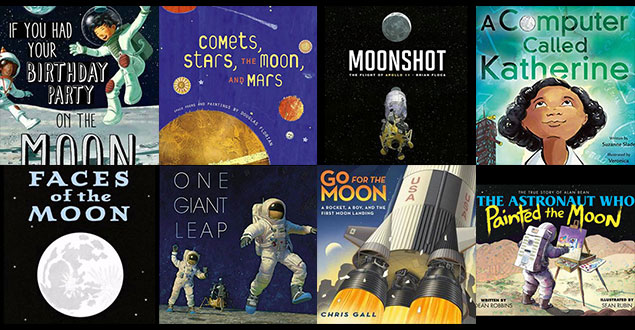 Covers from books about the Moon and Apollo 11