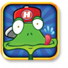 a frog in a hat that has the letter h on it