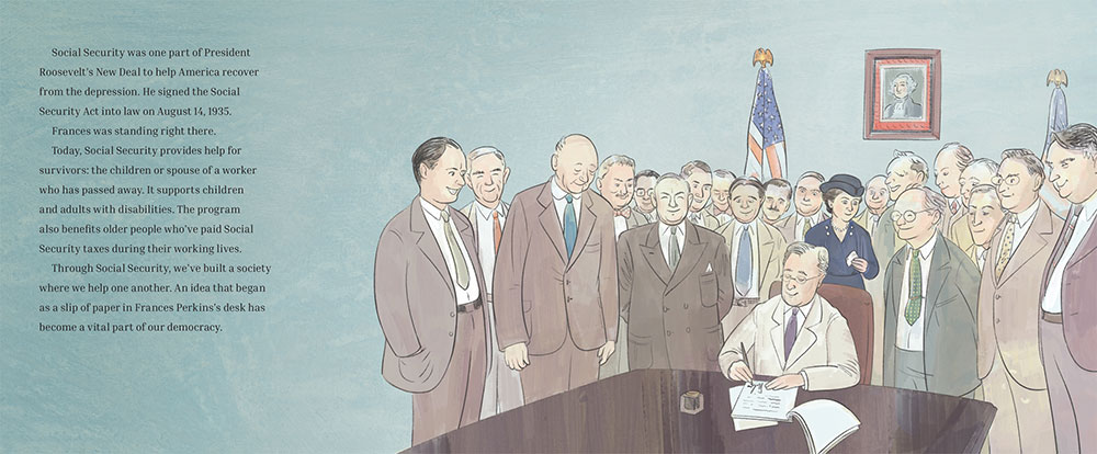 Illustration of signing of Social Security Act from Thanks to Frances Perkins picture book