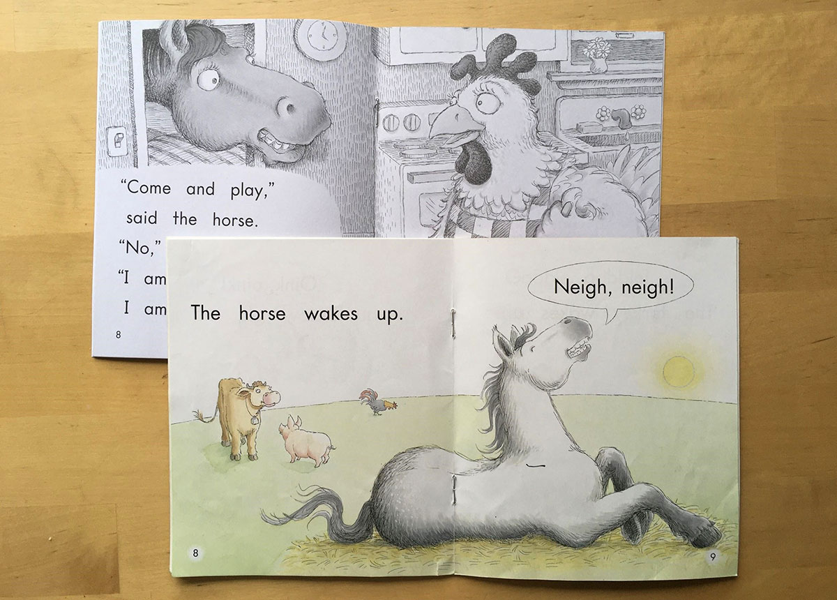 Page spreads from reader The Very Busy Hen