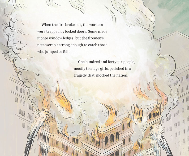 Illustration of fire from picture book about the Triangle Waist Fire