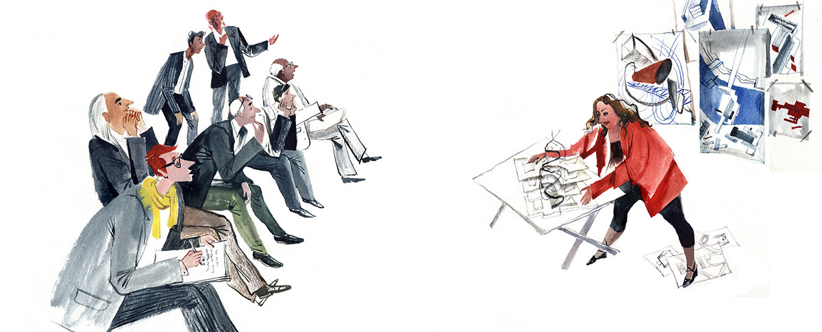 colorful illustration of Zaha Hadid drawing for an audience