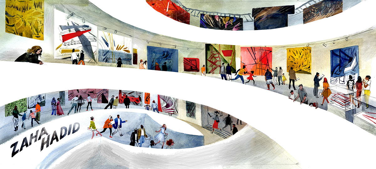 colorful illustration of Zaha Hadid's exhibition at the Guggenheim Museum