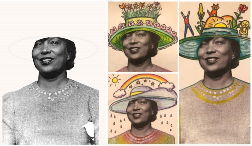 Zora Neale Hurston wearing different colorful hats